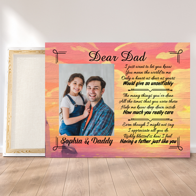 Personalized Custom Canvas - A Father Just Like You - Canvas with quotes, Father's Day Gift, Daughter Dad photo, Wall Art - 6711
