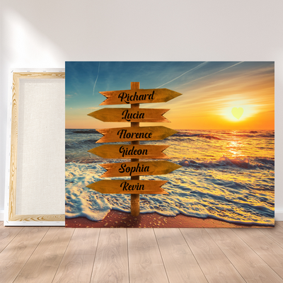 Personalized Custom Canvas - Beach Canvas, Family Member Names, Wall Art, Gift for Family - 2327