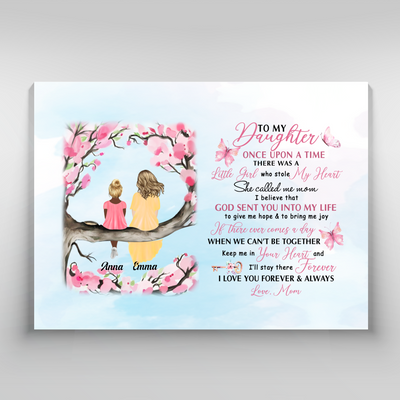 Personalized Custom Canvas - Once Upon A Time There Was A Little Girl - Gift For Daughter from Mother - 5144