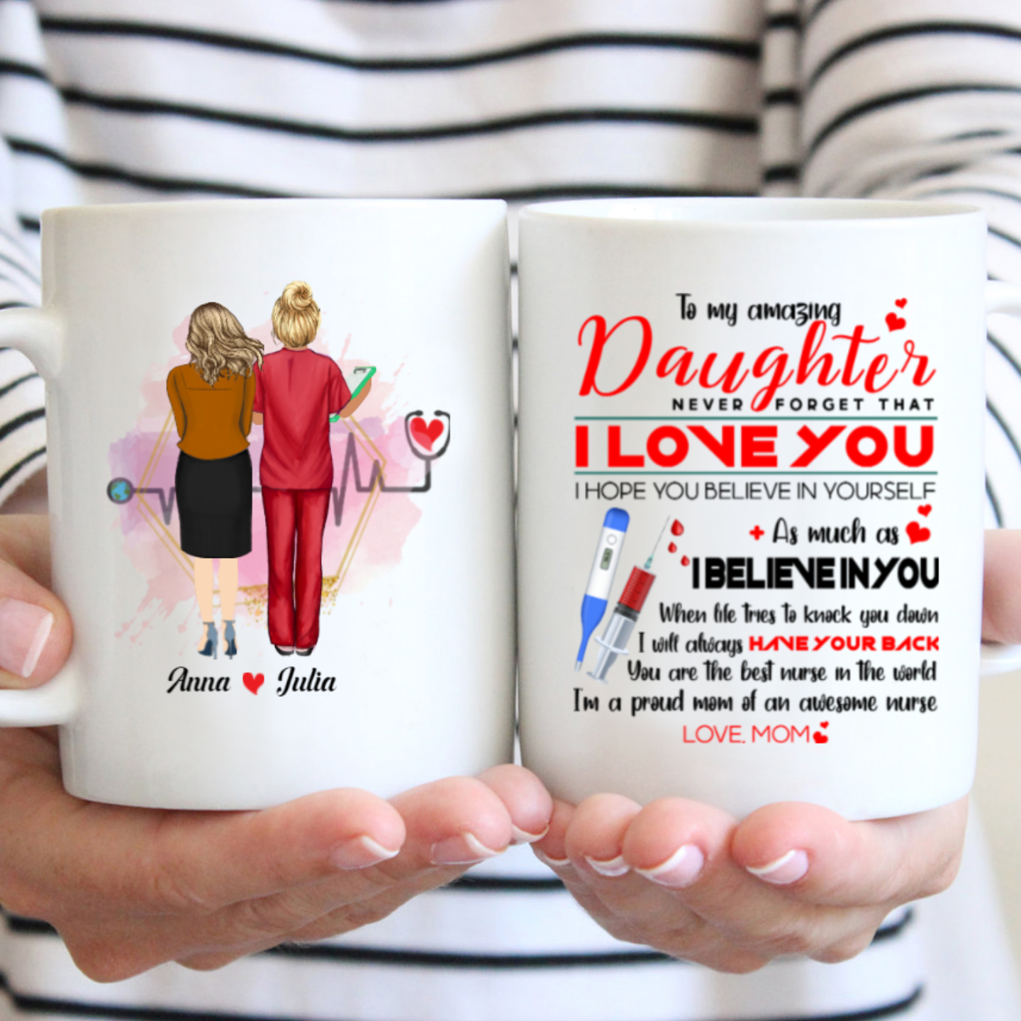 Personalized Custom Coffee Mug - Never Forget That I Love You - Gift For Nurse Daughter, Nurse Son, Nurse Mug, Birthday Gifts - 0471