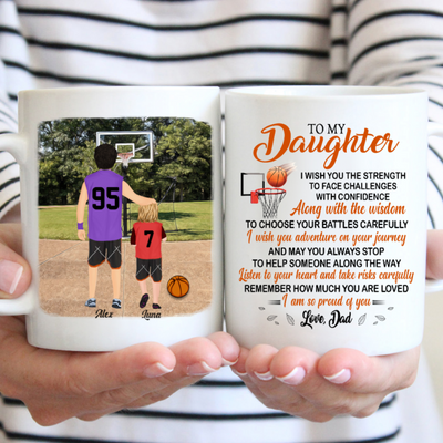 Personalized Custom Coffee Mug - Gift for Daughter from Dad - I wish you - Basketball players gift - 4583