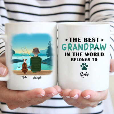 Personalized custom coffee mug - The best Grandpaw in the world - Gift for grandpa from grandchildren - Birthday gift, mug with quotes - 3143