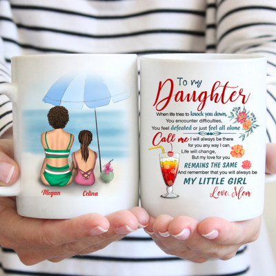 Personalized Custom Coffee Mug - My Little Girl- Gift For Daughter, Beach View Coffee Mug, Mug With Quotes, Birthday Gifts - 7255