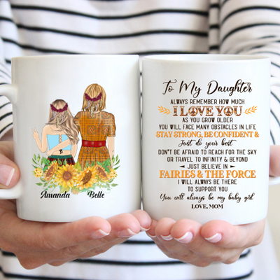 Personalized Custom Coffee Mug - I LOVE YOU My Daughter - Gift from Mom, Sunflower Mug, Mug with Quotes - 1735