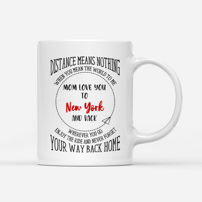 Personalized Custom Coffee Mug - Mom Love You To Wherever You Are & Back - Gift For Daughter From Mother, Mug With Quotes, Birthday Gift - 5895