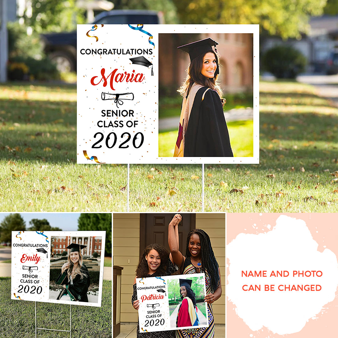 Personalized Photo Yard Sign - Congratulations Senior 2020, Graduation Gift, Gift For Daughter, Son, Granddaughter, Senior Gift - 4968
