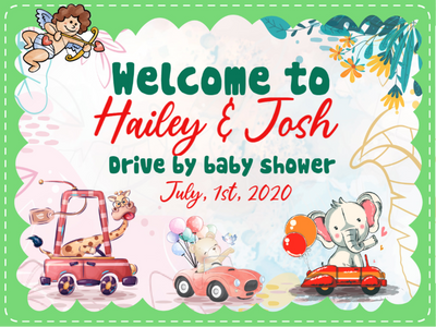 Personalized Custom Yard Sign - Drive By Baby Shower Welcome Yard Sign - Social Distancing Baby Shower - 6855