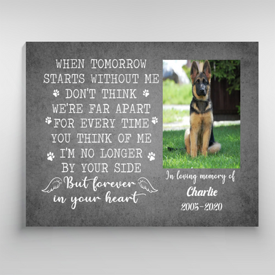 Personalized Photo Canvas - Forever In Your Heart - Pet Loss Canvas, Pet Memorial Canvas