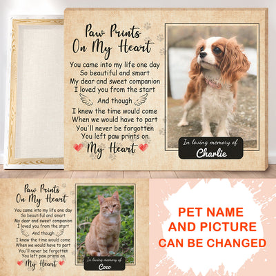 Personalized Custom Canvas - Paw Prints On My Heart - Pet Memorial Gift, Pet Memorial Canvas, Wall Art, Gift for Loss of Pet - 5176