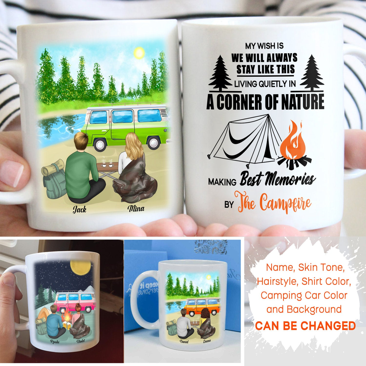 Personalized Custom Coffee Mug – Making Best Memories By The Campfire – Gift for Camping Couple, Camping Mug, Mug with Quotes, Birthday Gifts - 7208