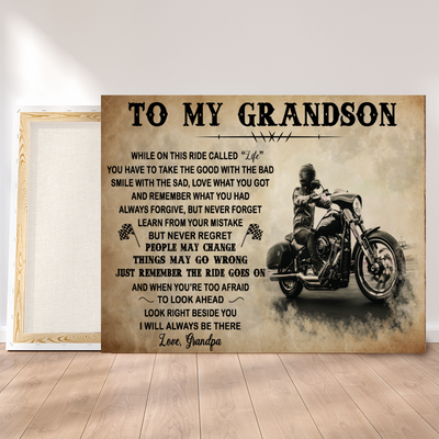 Matte Canvas - The ride goes on - Motorbike canvas, Gift from Grandpa to Grandson - Home decor Wall art - 0151