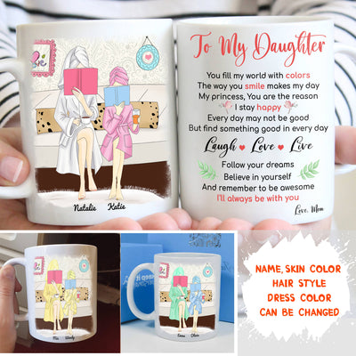 Personalized Custom Coffee Mug - Live Love Laugh - Gift For Daughter From Mom, Reading Books Together, Mug With Quotes, Birthday Gifts - 8184