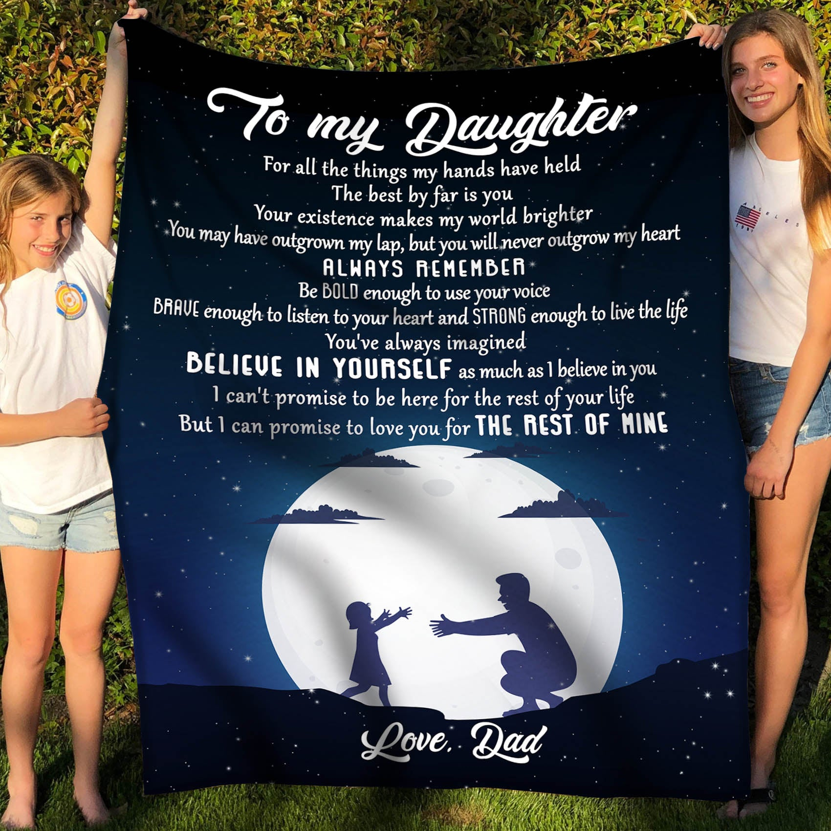 To my daughter fleece blanket - Believe in yourself - Gift for daughter from dad - Birthday gifts, blanket with quotes - 5863