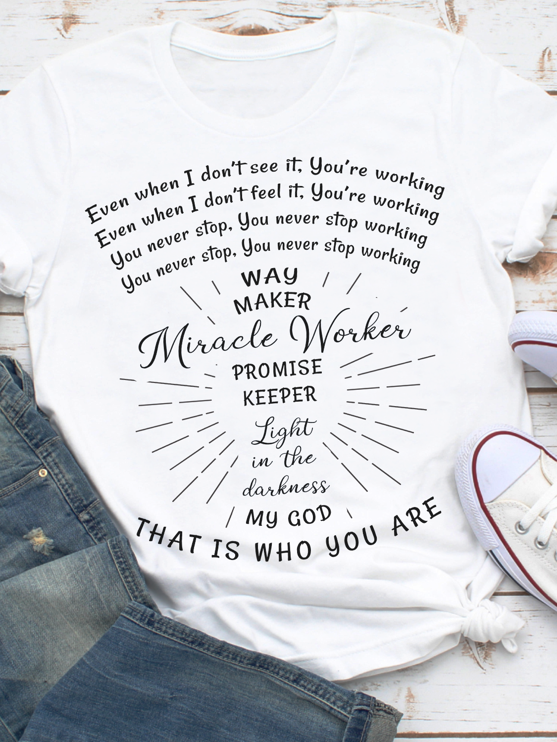 Classic T-Shirt - Way Maker, Miracle Worker - Christian T-shirt