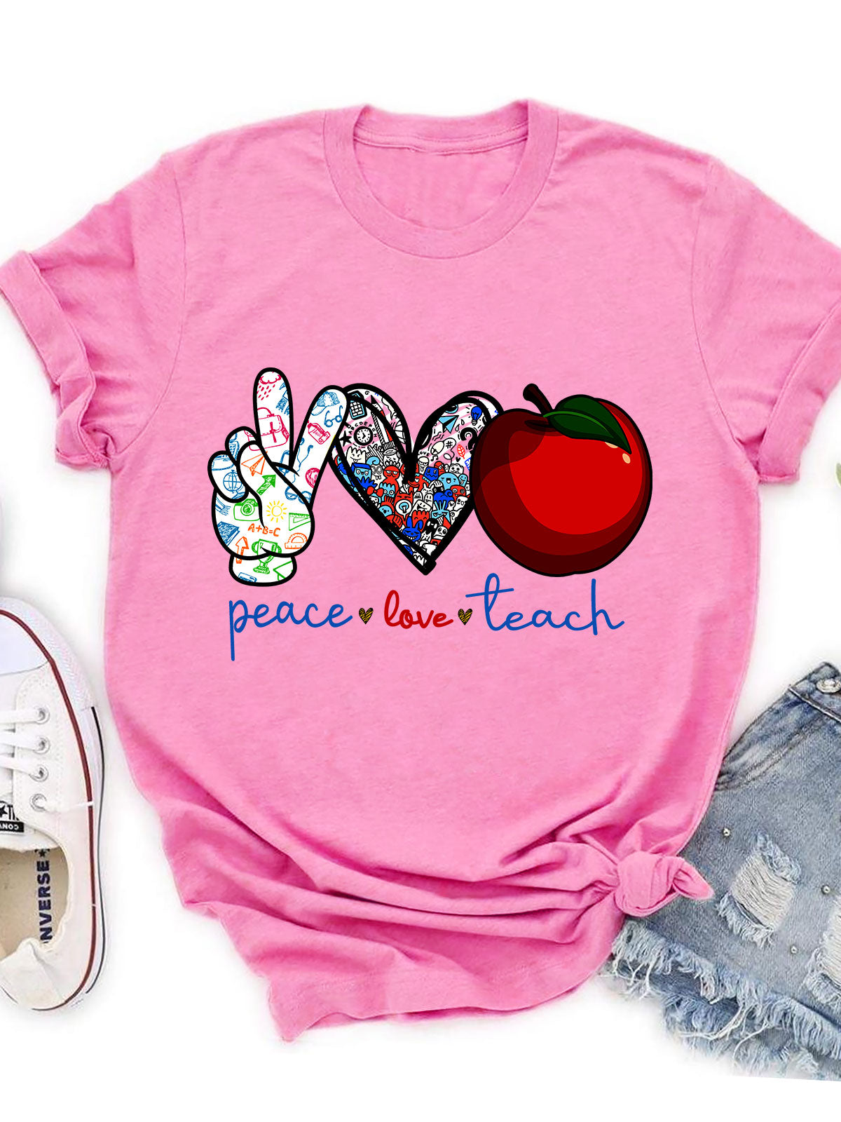 Unisex T-shirt - Peace Love Teach T-shirt - Teacher T-shirt - 8647