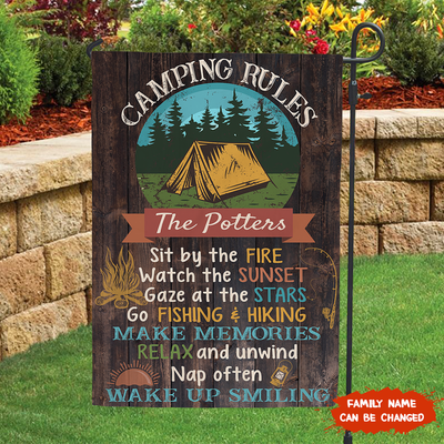Personalized Custom Camping Rules Garden Flag - Summer Flags, Camping Flags - 9191