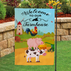 Garden Flag - Welcome to our Farmhouse - Flag with farm animal artwork - Cartoonish style - 3335