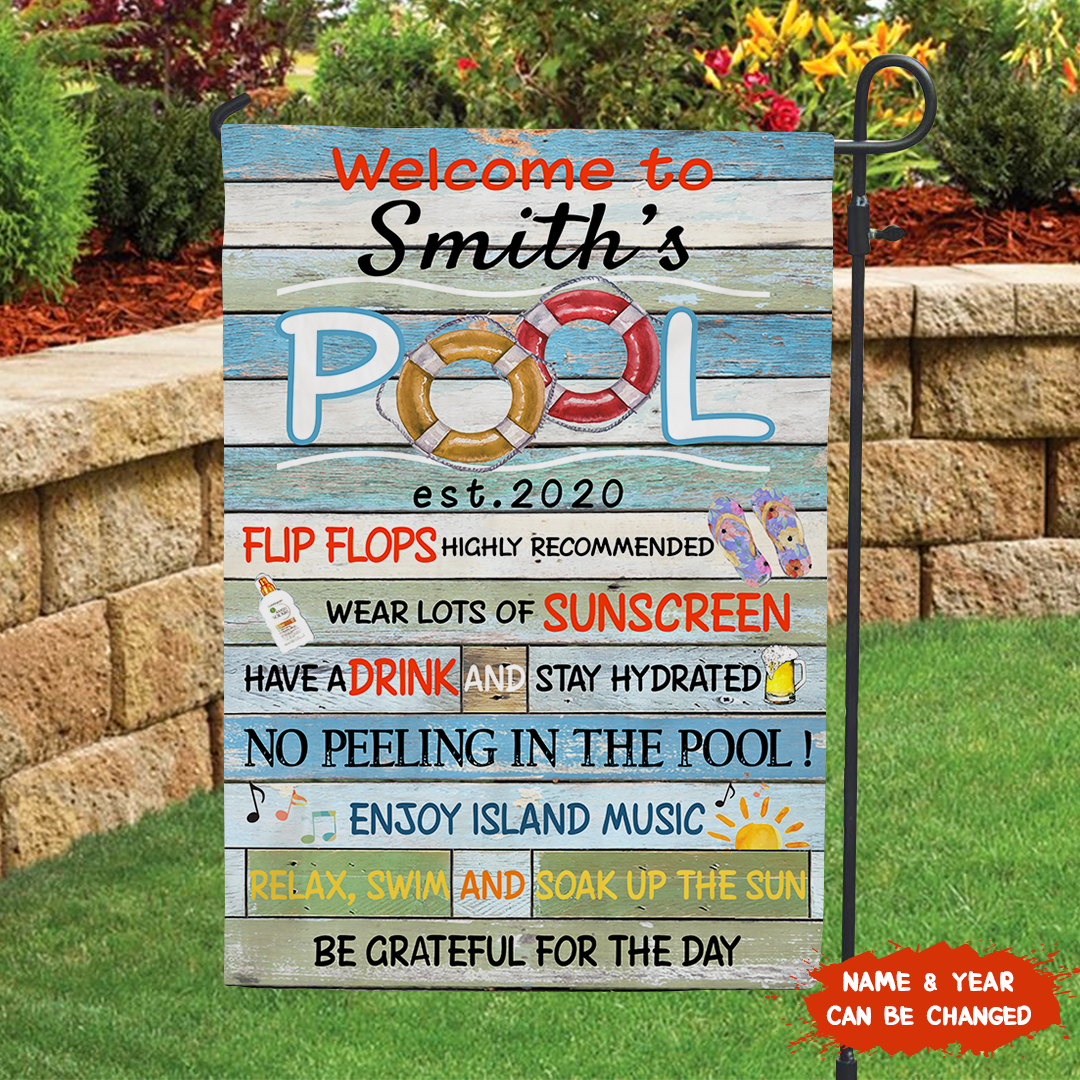 Personalized custom pool rules garden flag - Outdoor sign, Pool Rules Flag - 9607