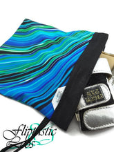 Load image into Gallery viewer, Gymnastics Grip Bag Snap Closure Black With Blue, Green and White Lines - Fliptastic Leos