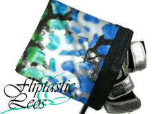 Load image into Gallery viewer, Gymnastics Grip Bag Snap Closure Blue Green Black with Silver Foil - Fliptastic Leos