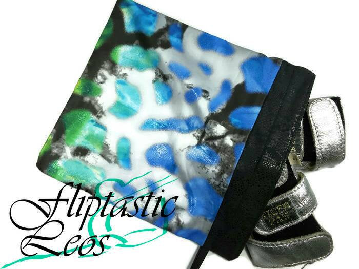 Gymnastics Grip Bag Snap Closure Blue Green Black with Silver Foil - Fliptastic Leos