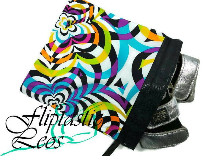 Gymnastics Grip Bag Snap Closure White With Multi Colors Blue Orange Yellow Pink Green Purple - Fliptastic Leos
