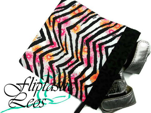 Gymnastics Grip Bag Snap Closure Zebra Striping Pink Orange Flowers - Fliptastic Leos