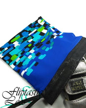 Load image into Gallery viewer, Gymnastics Grip Bag Snap Closure Blue White Green Black Square - Fliptastic Leos
