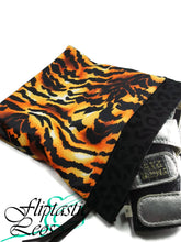 Load image into Gallery viewer, Gymnastics Grip Bag Snap Closure Tiger Print Orange Yellow Black - Fliptastic Leos