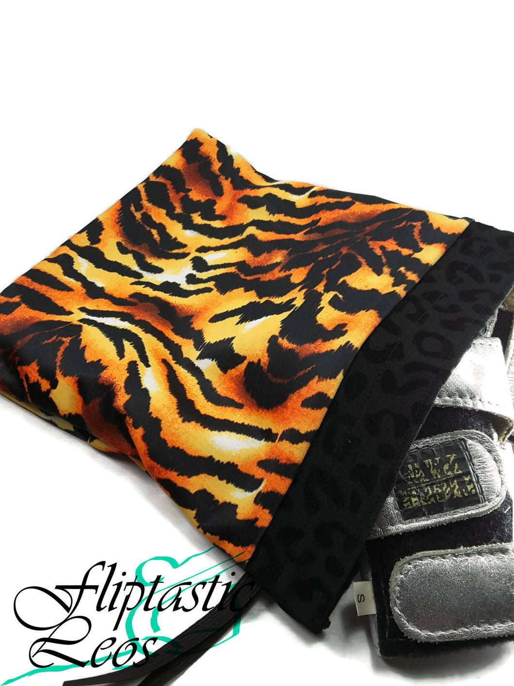 Gymnastics Grip Bag Snap Closure Tiger Print Orange Yellow Black - Fliptastic Leos