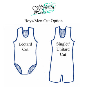 Boys Leotard Singlet Blue Wave & Black - Fliptastic Leos