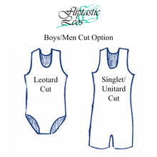 Load image into Gallery viewer, Boys Leotard Singlet Royal & Black Abstract