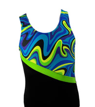 Load image into Gallery viewer, Boys Leotard Singlet Blue Wave & Black - Fliptastic Leos