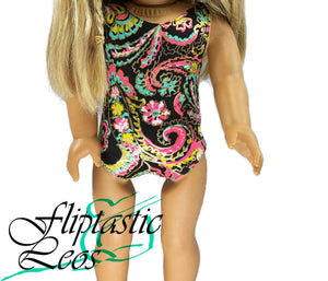 18 Inch Doll Gymnastic Dance Leotard Black Pink Blue Yellow with Gold Foil Paisley - Fliptastic Leos
