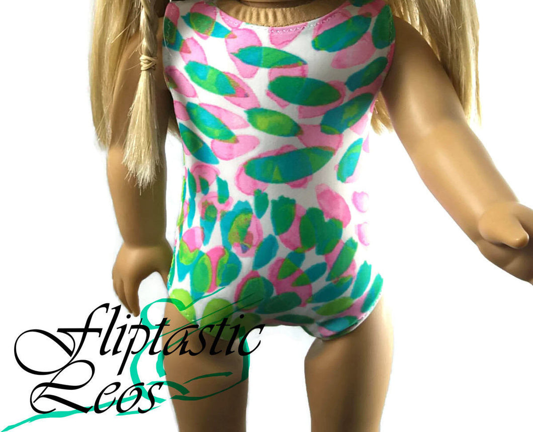 18 Inch Doll Pink Green Petal Print Leotard