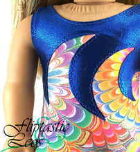 Load image into Gallery viewer, 18 Inch Doll Leotard Orange Color Burst with Blue Mystique Wave Applique - Fliptastic Leos
