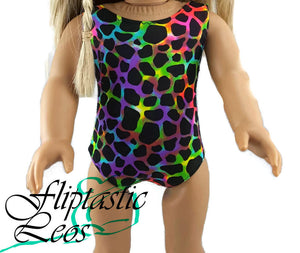 18 Inch Doll Gymnastic Leotard Black and Neon Pink Green Purple Blue Leopard - Fliptastic Leos
