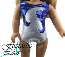 Load image into Gallery viewer, 18 Inch Doll Purple Tie-dye with White Mystique Applique Leotard - Fliptastic Leos