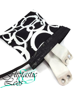 Gymnastics Grip Bag Snap Closure Black White Circles - Fliptastic Leos