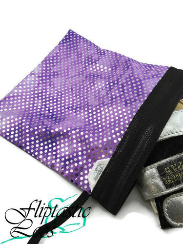 Gymnastics Grip Bag Snap Closure Purple Silver Hologram - Fliptastic Leos
