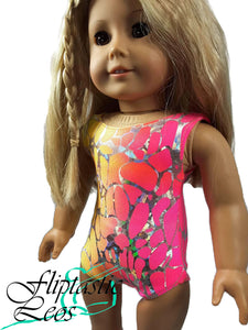 18 Inch Doll Gymnastic Dance Leotard Pink Orange Yellow Tye Dye and Silver