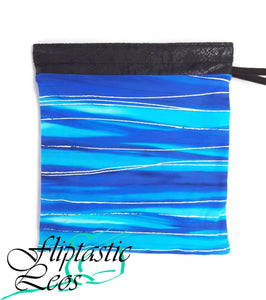 Gymnastics Grip Bag Snap Closure Blue Silver Striping - Fliptastic Leos