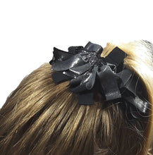 Load image into Gallery viewer, Fringe Hair Scrunchies Silver on Black Foil - Fliptastic Leos