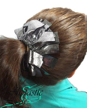 Load image into Gallery viewer, Fringe Hair Scrunchies Silver Mystique on Black - Fliptastic Leos