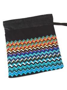 Gymnastics Grip Bag Snap Closure Black With Blue Orange Rick Rack - Fliptastic Leos