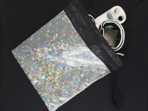 Gymnastics Grip Bag Snap Closure Silver Geometric Hologram - Fliptastic Leos