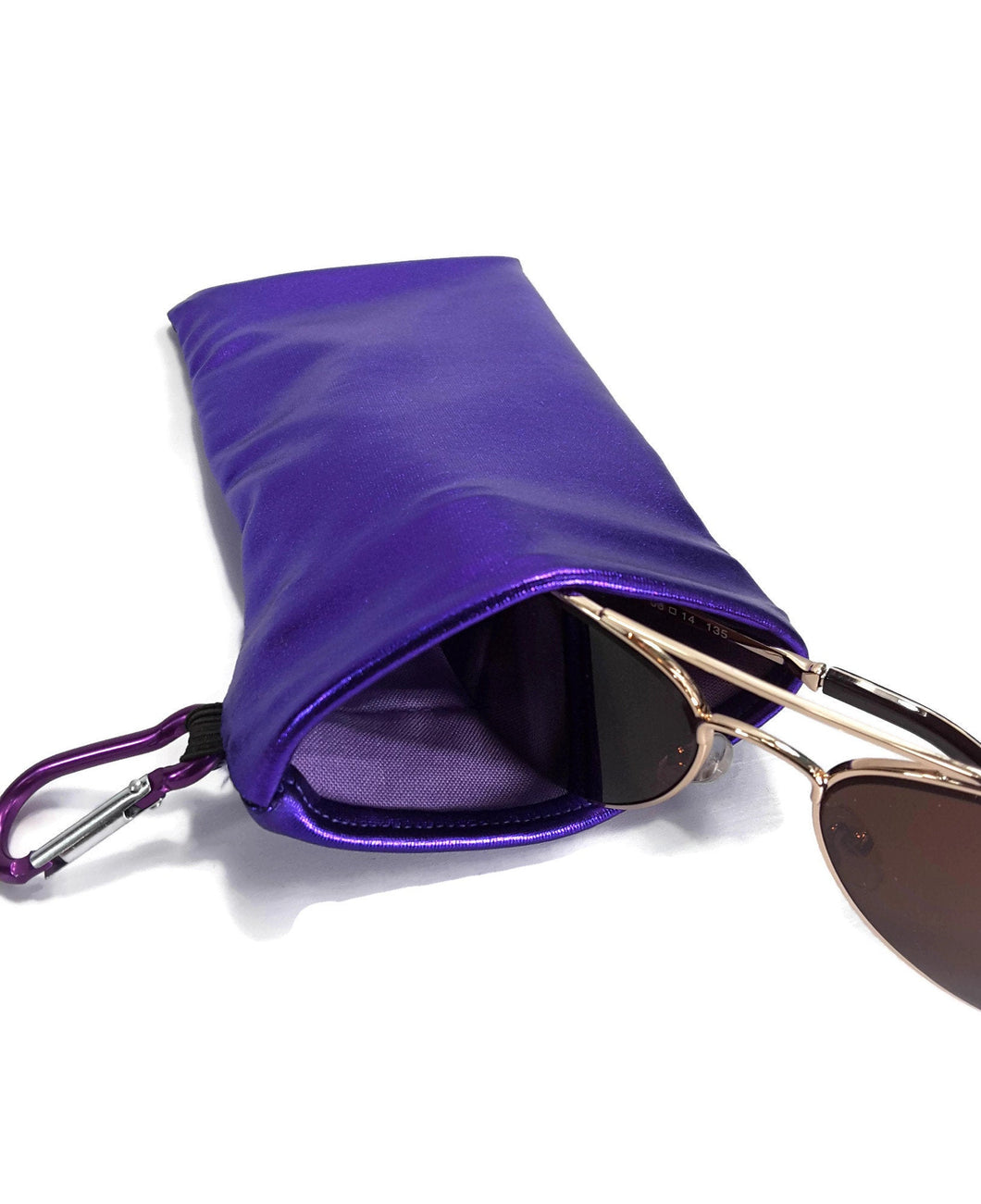 Sunglasses Snap Closure Case With Carabiner Clip Purple Hologram Wet Look - Fliptastic Leos