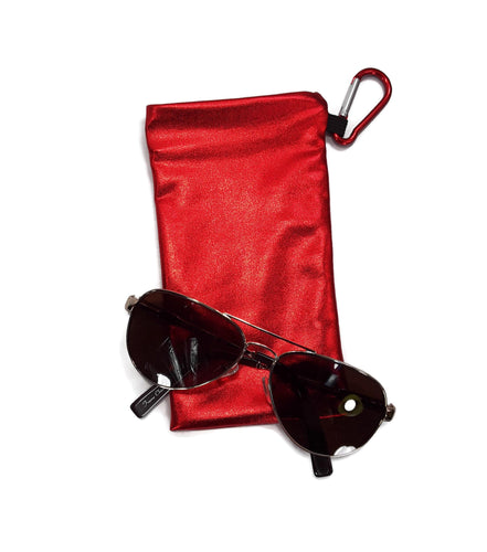 Sunglasses Snap Closure Case With Carabiner Clip Red Hologram Wet Look - Fliptastic Leos