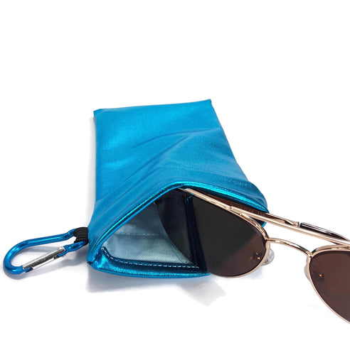 Sunglasses Snap Closure Case With Carabiner Clip Turquoise Blue Hologram Wet Look - Fliptastic Leos