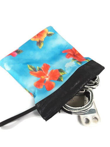 Grip Bag Snap Closure Blue With Orange Hibiscus Flowers - Fliptastic Leos